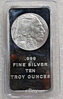 10 Troy oz Buffalo. 999 Fine Silver Bar