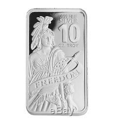 10 oz DGSE 0.999 Silver Bar Freedom Symbol Stamped