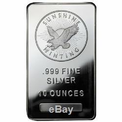 10 oz Sunshine Silver Bars 20 oz Total. 999 fine (New, Lot of 2)