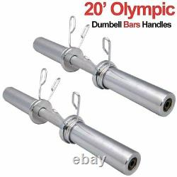 20 Olympic 2 Dumbbell Bars & Spring Collars Set Gym Weight Lifting Handles