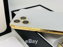 24K Gold Plated Apple iPhone 11 Pro Max 512GB Silver Unlocked CDMA GSM CUSTOM