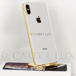 24K Gold Plated Apple iPhone XS MAX 512GB Silver (Unlocked) Custom, 24 Karat