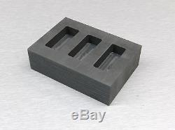 2oz Gold Graphite Ingot Mold 3 Cavity Loaf Bars for Melting Kit 1oz Silver Pour