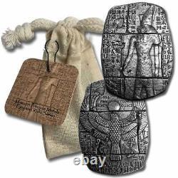3 oz. 999 Fine Silver Bar Egyptian Horus Relic Bar New In a Cloth Bag