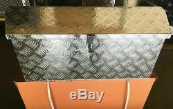 35L Aluminum Tongue Underbody Tool Box Trailer RV Tool Storage Bed withLock 5BAR