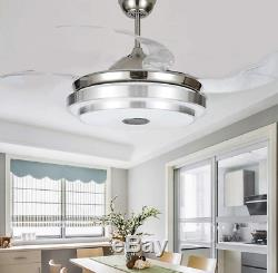 36/42 Bluetooth Invisible Fan LED Ceiling Light Music Player Chandelier+remote