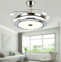 36/42Modern Ceiling Fan Light withLED Bluetooth Music Player Retractable Blades