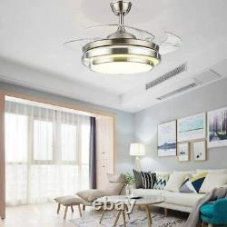 42 Invisible Fan Chandelier Light Lamp LED Fan Ceiling Remote Control Modern