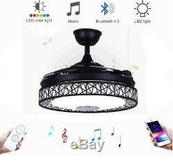 42 Invisible LED Ceiling Fan Light Remote Control Chandelier +Bluetooth Speaker