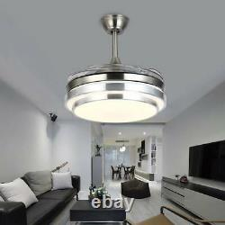 42 Retractable Ceiling Fan Lamp Dimmable LED Chandelier Light Remote Control