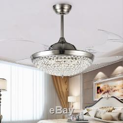 42 Retractable Ceiling Fans with Lights Modern Crystal Remote Chandelier Lamps