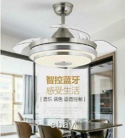 42Bluetooth Invisible Fan LED Lamp Ceiling Light Music Player Chandelier+Remote
