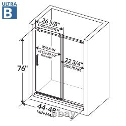 44-48Wx76H Semi-Frameless Sliding Shower Door ULTRA-B Brushed Nickel LessCare