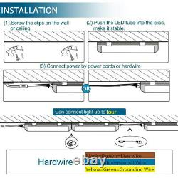4FT 12 Pack LED Shop Light T8 Linkable Ceiling Tube Fixture 24W Daylight Clear
