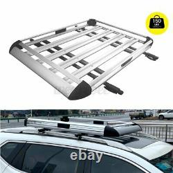 50x38 Aluminium Car Roof Rack Basket Tray Luggage Cargo Carrier With Free Bars