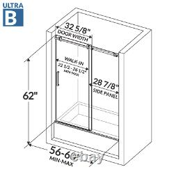 56-60Wx62H Semi-Frameless Sliding Bathtub Door ULTRA-B Brushed Nickel LessCare