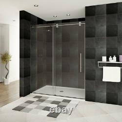 56-60Wx79H Frameless Sliding Shower Door ULTRA-D Brushed Nickel by LessCare