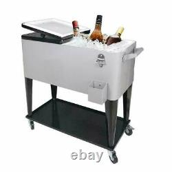 80 Quart Rolling Ice Chest on Wheels Patio Party Bar Drink Cooler Cart /w Shelf