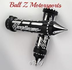 99-18 Hayabusa Black/Silver Engraved & Ball Cut Handlebar Grips withSpike Bar Ends