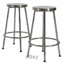 Beverly 30-Inch Modern Design Chrome Steel Bar Stools (set of 2)