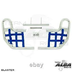 Blaster YFS200 YFS 200 Nerf Bars Alba Racing Silver bar Blue nets 212-T1-SL