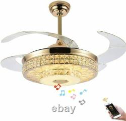 Bluetooth Retractable Ceiling Fan Light Lamp Remote Dimmable LED Chandelier