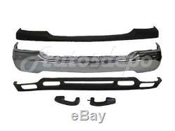 Bundle for 99-02 Sierra 1500 Sl Front Bumper Chr Bar Cap Valance Bracket W Hole