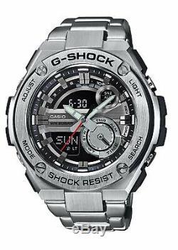 Casio G-Shock G-Steel WR 20Bar World Time Black Dial Silver Men Watch GST210D-1A