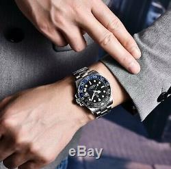 Ceramic Bezel Sapphire Glass Automatic 40mm 10 bar GMT Stainless Steel Bracelet