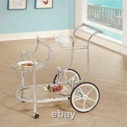 Chrome Glass Metal Beverage Cart Serving Bar Rolling Wine Storage Portable Party