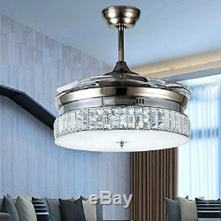 Crystal Invisible Silver Ceiling Fan Light Dining Room Muted Fan Light 36