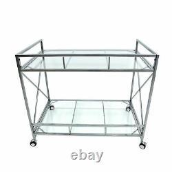 Danae Modern Iron and Glass Bar Cart, Silver
