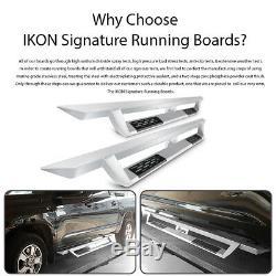 Fits 07-18 Chevy Silverado Sierra Crew Cab IKON V1 Style Running Board Silver