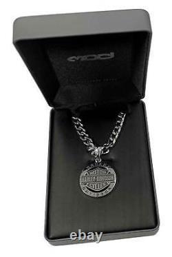 Harley-Davidson Men's Stainless Steel Bar & Shield Circle Necklace HSN0041-22