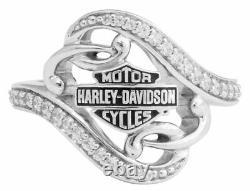 Harley-Davidson Women's Bling Filigree Bar & Shield Ring, Silver Finish HDR0473