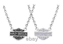 Harley-Davidson Women's Necklace, Bling Bar & Shield Logo Charm, Silver HDN0148