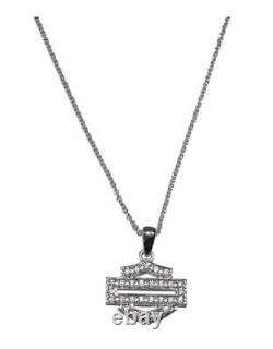 Harley-Davidson Women's Necklace, Bling Bar & Shield Outline, Silver HDN0324