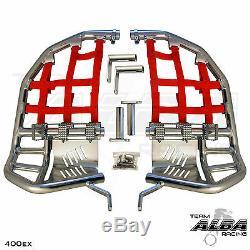 Honda TRX 400EX 400X Nerf Bars Pro Peg Heel Gaurds Alba Racing Silver Red
