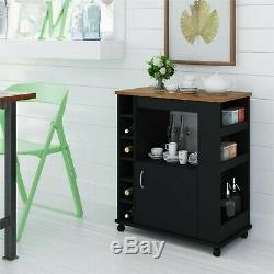 Kitchen Cart Rolling Storage Portable Liquor Wine Bar Microwave Trolley Rack NEW