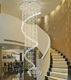 Luxury Crystal Chandelier Pendant Ceiling Lamp Light Rain Drop Spiral Lighting