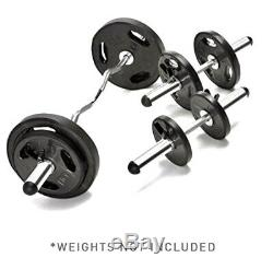 Marcy 2 Olympic Barbell Set-Chrome Curl Bar, Dumbbell Handles & Spring Collars