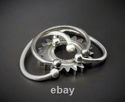 Men's Gents Heavy Solid 925 Sterling Silver Open Ball Torque Bangle Bracelet