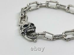 Mens 925 Sterling Silver Skull & Bones Gothic Biker T-BAR Bracelet Hallmarked