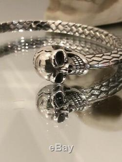 Mens Heavy 925 Sterling Silver Skull Head woven Torque Bangle Cuff Bracelet