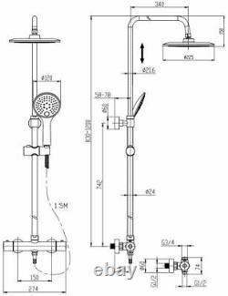 Merano Thermostatic Twin Head Mixer Shower Set Round Bar Chrome Exposed Valve
