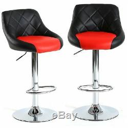 Model Bar Stool Chair Dining Counter Pub Barstools Mix Black & Red Set of 2