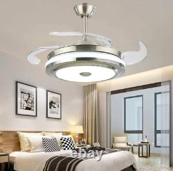 Modern 36 Invisible Ceiling Fans with 3-Color LED Light Fan Chandelier+remote