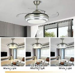Modern 42 Invisible Ceiling Fans with 3-Color LED Light Fan Chandelier & Remote