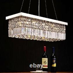 Modern 60/80cm Rectangle Chandeliers K9 Crystal Pendant Light Home Ceiling Lamp