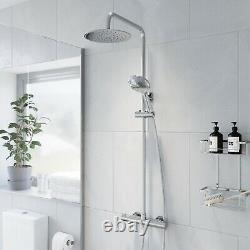 Modern Bathroom Bar Mixer Shower Valve Thermostatic Round Chrome Bottom Outlet